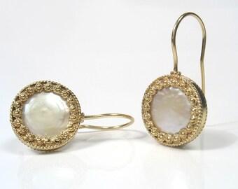 The Sea Sun Earrings - pearl and gold filigree earrings