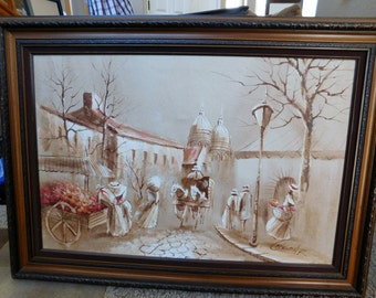 Signed Antique Market Place Painting - Chezar - Museum Quality - Great Texture and Subject