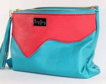 Turquoise and Coral Leather Clutch - Turquoise and Coral Leather Handbag - Free Tassel - Coral Leather Clutch - Turquoise Leather Clutch