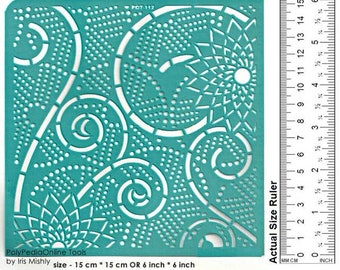 Stencil Stencils Pattern Template, Craft stencil, Reusable, Adhesive, Flexible, for polymer, fabric, wood, glass, cards | SWIRL 6 inch/15 cm