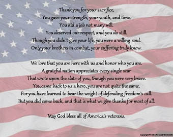Veteran's Day Memorial Poetry Print, Rhyming Veteran's Day Poem, Downloadable Veteran's Reading, Patriotic Veteran's Poem Digital Print