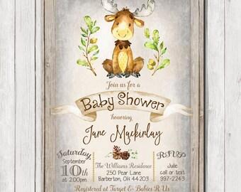 Rustic Baby Shower Invitation, Moose, Wood Invitation, Invite, Boy or Girl, Baby Shower Invitation, Woodland animals, Printable, 5x7