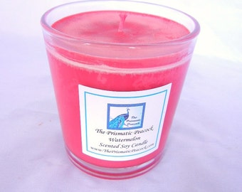 watermelon scented soy candle 10 oz tumbler red