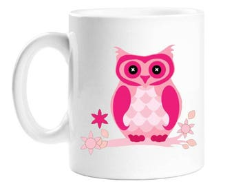 Owl Coffee Mug - Pink Cartoon Owl - Gift For Women - Gift For Girls -.Mothers Day Gift - Personalised Gift - 10 Ounce - White Porcelain