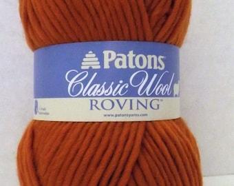 Patons Classic Wool Roving ~ 100% Pure New Wool ~ Pumpkin ~ #5 Bulky ~ 3.5 oz/100 grams