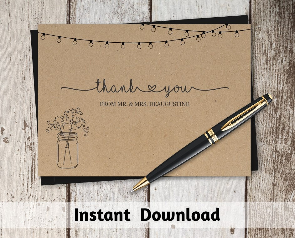 Printable Wedding Thank You Card Template Rustic Mason Jar Fairy - 4x6 thank you card template