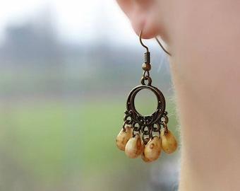Brass Chandelier Earrings Brass Drop Earrings Beaded Earrings Bronze Tone Earrings Boho Earrings Brass Jewelry Bohemian earrings Unique Gift