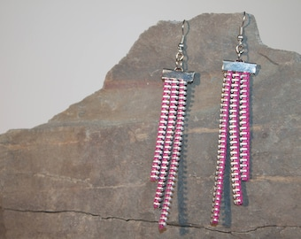 Earrings made of recycled zippers earrings 3 strips, various colors & silver