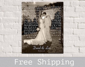1st Anniversary Gift - Song Lyrics Art - Wedding First Dance Song Lyrics - Photo on Canvas - Canvas Print - Anniversary Gift - Free Shipping