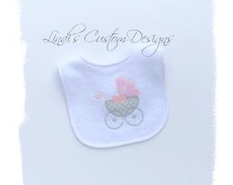 Girl Embroidered Baby Bib, Bassinet Carriage Stroller Baby Bib, Pink Gray Baby Bib, Unique Baby Shower Gift, Baby Girl Hospital Newborn Gift