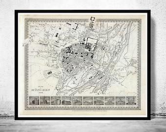 Old Map of Munich Munchen with gravures, Germany Deutshland 1844 Vintage