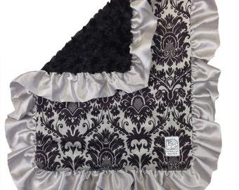 Black Damask Security Blanket Black Gray Silver