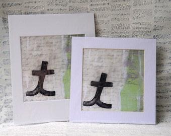 """One of a Kind Monogram: Cursive Letter """"t"""" Encaustic Fine Art Print"""