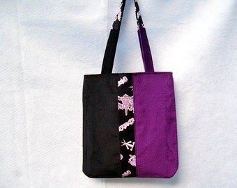 Corduroy Patchwork Tote Bag in Purple and Black, Patchwork Purse in Purple and Black Corduroy, Fabric Purse, Women's Tote Bag, Gifts For Her