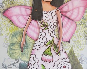 Butterfly fairy printable paper-doll in full color