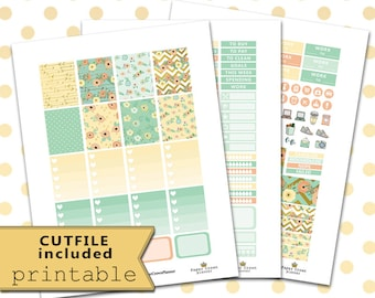 Printable Planner Stickers for use with Erin Condren Life Planner/FLOWER FIELDS Weekly Planner Sticker Kit/Floral Stickers/Silhouette