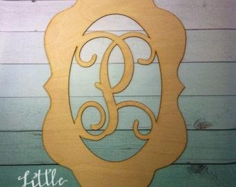 Frame custom Letter - Interlocking Vine Font - (you choose letter) DIY/ Unpainted/ Door Hanger/ unfinished