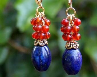 Multi Gemstone Dangle Earrings.Blue Lapis Stone.Orange Carnelian.Gold.Silver.Cluster.Statement.Drop.Cluster.Bridal.Mother's.Gift.Handmade.