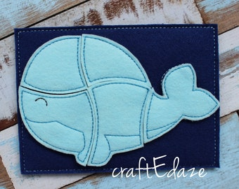 Whale On-the-Go Felt Puzzle with Storage Pouch