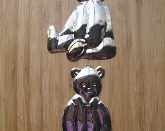 Vintage Studio 56 - Silver tone/Brass accented Teddy Bear (2) Ornament Set-1990's
