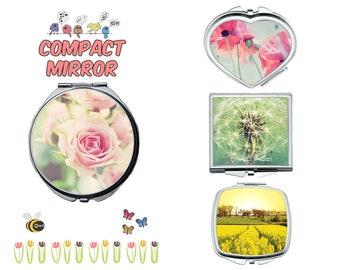 Spring flower compact mirror, makeup mirror, compact make up mirror, small mirror, double sided compact makeup mirror, purse mirror