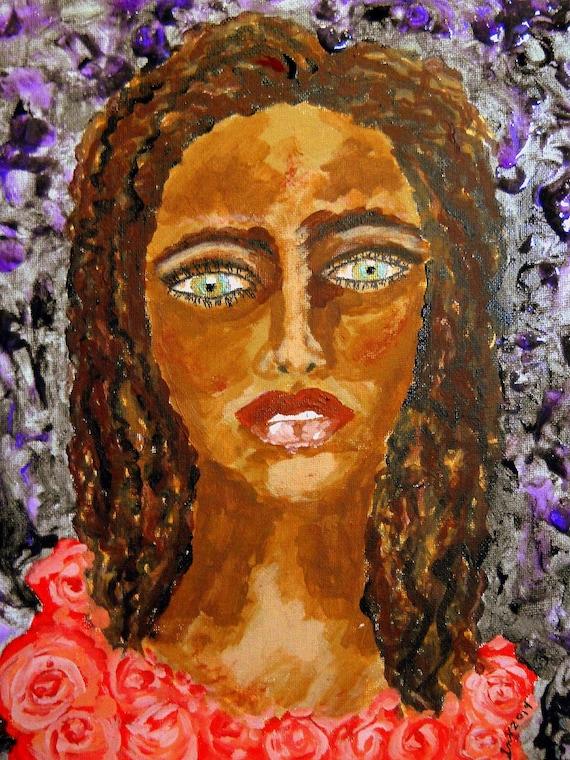 Acrylic Finger Painting (framed) OLGA, Ethnic Folk Art Exotic Green Eyes, Woman of Color Portrait African American Artist 2014