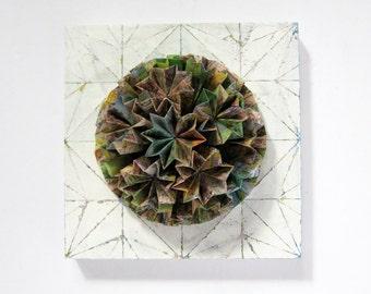 Origami Panel No10c - Kusudama Globe Wall Sculpture - Mixed Media Art Map Paper Collage on Wood Panel 6x6 Square Art Tile - Toronto Map Art