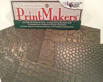 Unmounted Rubber Stamps 'BACKGROUND PRINTS' PrintMakers Texture Stamp 4-Pack Collection for Clay by USArtQuest.