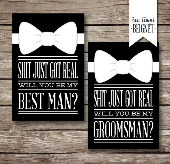 Shit just got real will you be my groomsman best man shit just got real will you be my groomsman best man instant digital download wedding stationary printable wedding junglespirit Images