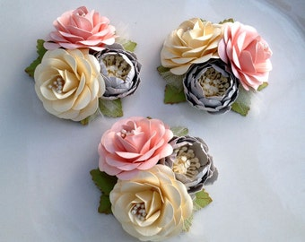 Corsages - Boutonnieres - Paper Flowers - Weddings - Bridal Shower - Baby Shower - Pink and Grey - Set of 3 - Made To Order