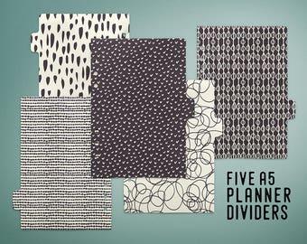 A5 Planner Dividers, Instant Download Printable Tabbed Dividers, A5 Filofax, Kikki K Large, A5 Binder, Tab Divider, Printable Planner