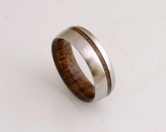 wood wedding band mens wedding ring woman band ring man jewelry titanium ring wood ring