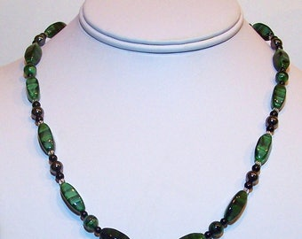 Onyx, Hematite, and Green Tiger Eye Beads Necklace by Carol Wilson of Je t'adorn