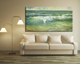 Blue Wall Art, Green Wall Art Canvas, Living Room Wall Art Painting, Oil Sea Painting, Sea Wall Art, Green Wall Decor, Blue & Green Painting
