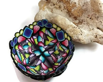 Ring Bowl, polymer clay bowl, ring dish, kaleidoscope dish, home decor, small bowl, jewelry dish, colorful bowl, gifts for her