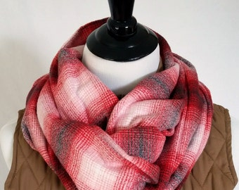 Red White Grey Plaid Flannel Infinity scarf. Mens Scarf. Womens Scarf.
