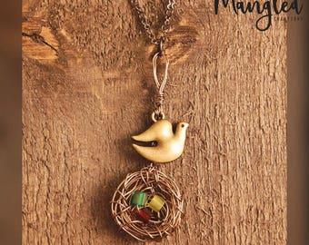 Wire-wrapped Bird Nest Necklace