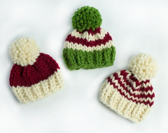 Christmas Santa Hat Candy Cane Pompom Winter Beanie Chunky Knit - Photography Prop - Newborn, Baby, Child