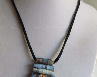 "20"" Rolled Paper Bead Necklace on Black Silk, necklace, paper beads, black silk"