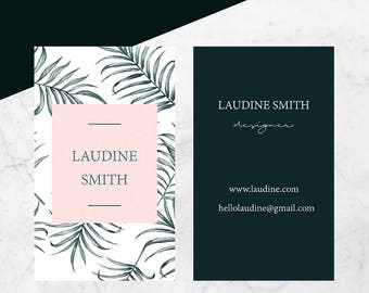 Leafs business card design,Instat business card with green leafs,Instant download pin business card,Instant download business card female