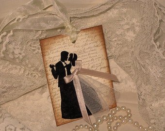 French Vintage Bride and Groom Gift with Tulle and Satin Ribbon ECS
