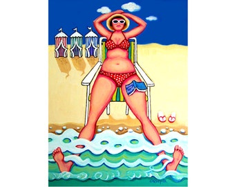 Woman Beach Art, Beach Huts Print, Beach Cabanas Art, Coastal Wall Decor, Seascape, Seashore Art, Coastal Art, Beach House Art, KORPITA