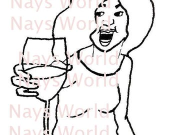 Digital Stamp, Cheers to You, Female Digi Stamp,Stamps, Female digital stamp, Cheers