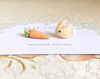 Bunny & Carrot Mismatch Earrings