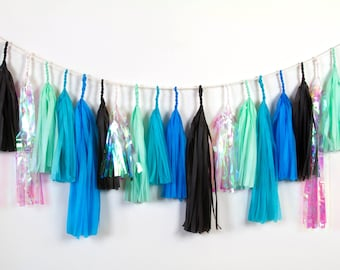 Black Opal Tassel Garland, Modern Boys Party, Turquoise, Black, Mint, Iridescent, Birthday Decor, Party Decor, Space Party,
