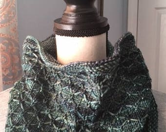 Lattice knit beaded cowl, beaded neckwarmer, hand knit scarf