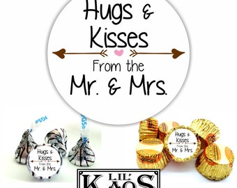 Hugs & Kisses From The Mr. and Mrs. 108 Wedding Sticker Label for Kisses Candy Mints Favors with Arrows and Hearts (SC-Wedding10)