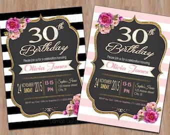 30th Birthday Invitation, 30th Birthday Invitation for Women, 30th birthday for her, 30th birthday invite, 30th birthday invitation female