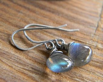 Simple Luminous Labradorite Earrings  - Oxidized, dangle earrings