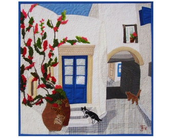 Mini art quilt Greek town wall art Textile wall hanging City landscape quilt Blossom street Cat art quilt Bougainvillea Pink bright flowers